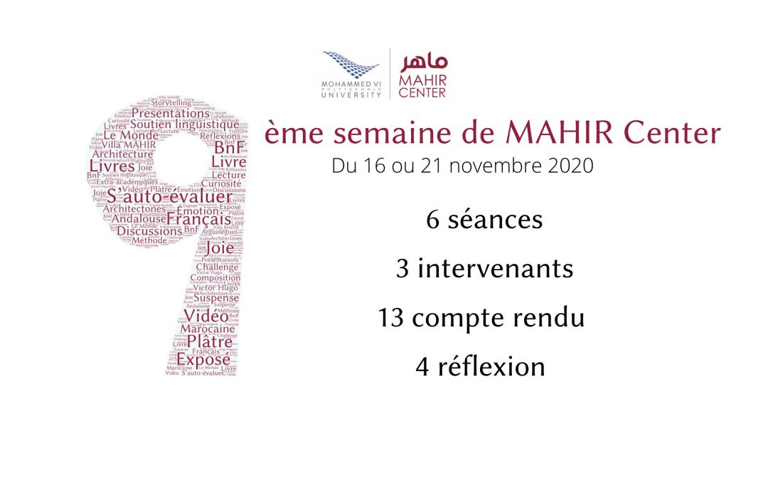 MAHIR 2020/2021 – 9ème semaine du programme