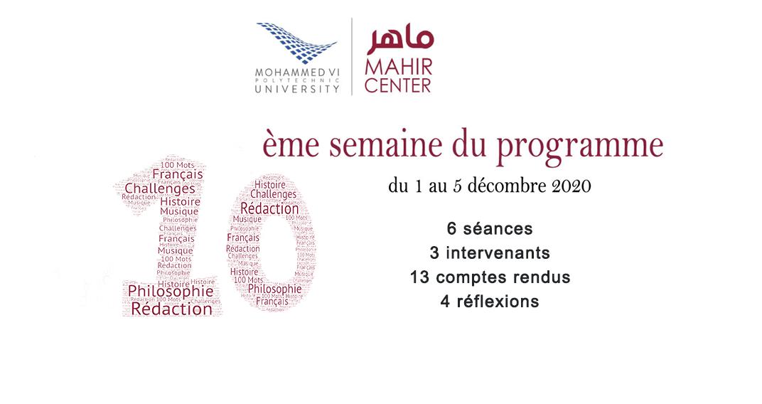 MAHIR 2020/2021 – 10ème semaine du programme